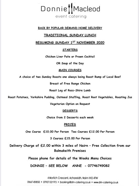 As promised...The return of the Sunday lunches! The menu has been expanded, giving a varied choice of courses for you to...